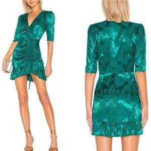 Majorelle short sleeve green damask side pull dres
